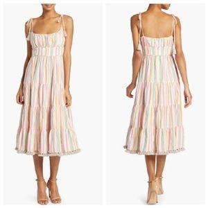 Zimmermann 2019 Heathers Stripe Tassel Midi Dress